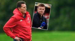 Erasmus handed in his notice in June and will return to his native South Africa in December to take up a position with the SARU. Inset, Brian O'Driscoll