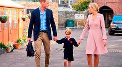 Prince George arriving with the Duke of Cambridge at Thomas's Battersea in London, as he starts his first day of school. Picture: Kensington Palace/PA Wire