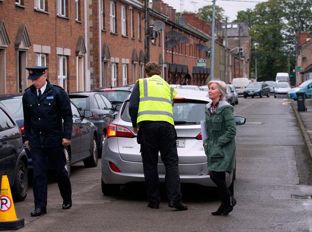 State Pathologist Dr. Mary Cassidy and Garda Superintendent Gerry Curley arrive at the house at Mary's Street North, Dundalk where skeletal remains were found during building renovations. Photo: Tony Gavin