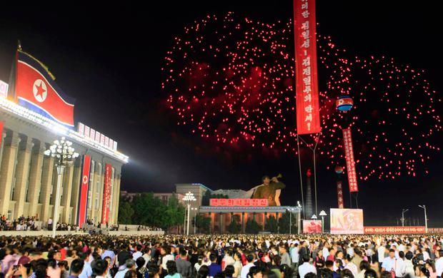 In this Wednesday, Sept. 6, 2017 photo, fireworks explode after civilians and military personnel participated in a mass rally in Kim Il Sung Square in Pyongyang, North Korea, to mark their countryÕs sixth underground nuclear test. The test of what Pyongyang claims was an H-bomb small enough to be mounted on an intercontinental ballistic missile was the biggest North Korea has ever conducted. (AP Photo/Jon Chol Jin)