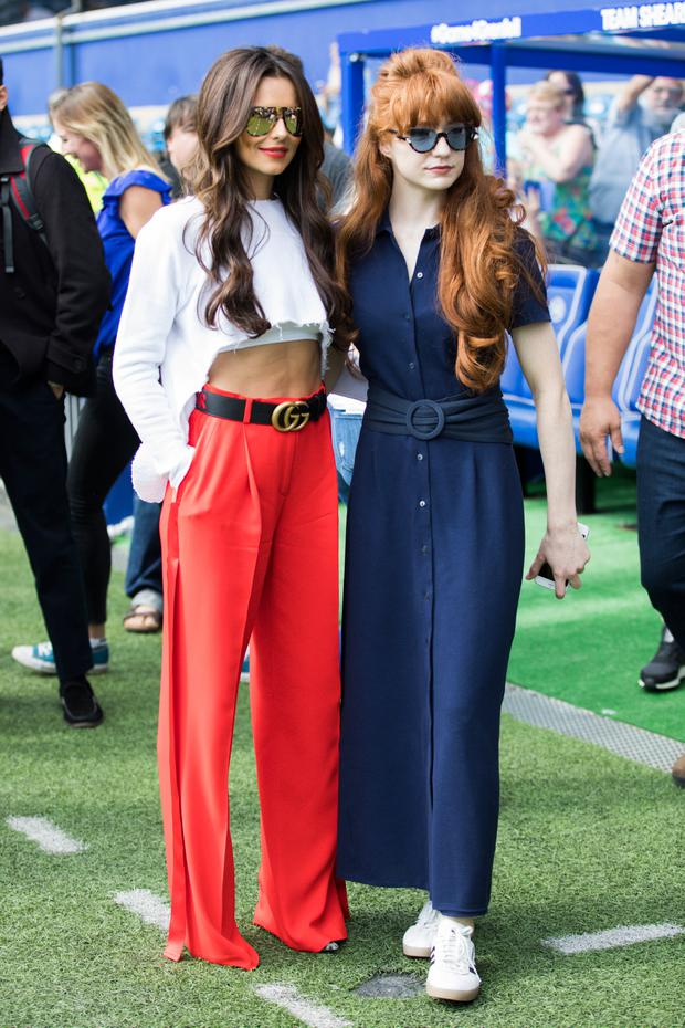 Cheryl Cole and Nicola Roberts attend the #GAME4GRENFELL at Loftus Road on September 2, 2017 in London, England. The charity football match has been set up to benefit those who were affected in the Grenfell Tower disaster. (Photo by Tristan Fewings/Getty Images)