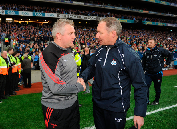 Mayo manager Stephen Rochford and Dublin manager Jim Gavin