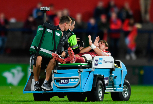 1 September 2017; Dan Goggin of Munster is stretchered off the field during the Guinness PRO14 Round 1 match between Munster and Benetton at Irish Independent Park in Cork. Photo by Eóin Noonan/Sportsfile