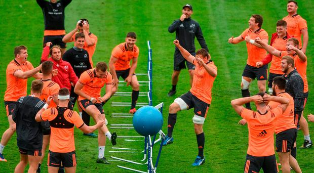 Players enjoy a game of football tennis during training. Photo by Eóin Noonan/Sportsfile