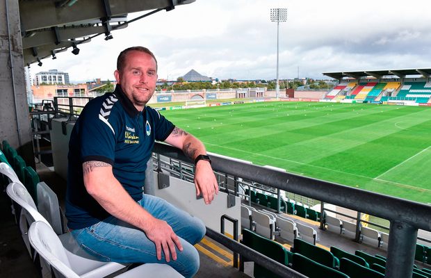 Bluebell United manager Andy Noonan, a Shamrock Rovers season-ticket holder, in his normal seat at Tallaght Stadium yesterday. Photo: Sportsfile