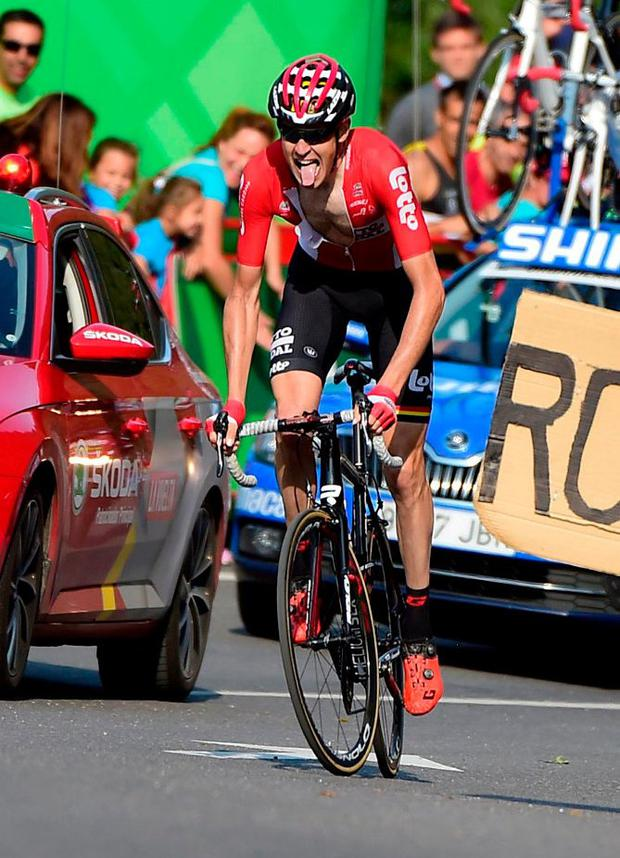 Lotto Soudal's Belgian rider Sander Armee climbs to victory on stage 18 of the Vuelta after licking his breakaway rivals. Photo: Jose Jordan/AFP/Getty Images