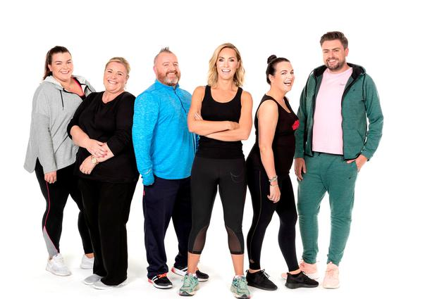 'Operation Transformation' contestants Kayleigh Cullinan, Mary Byrne, Gary O'Hanlon, Triona McCarthy and James Patrice, and host Kathryn Thomas