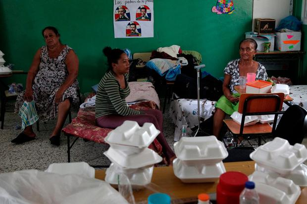 Locals rest in a shelter as Hurricane Irma moves off the northern coast of the Dominican Republic, in Nagua, Dominican Republic, September 7, 2017. REUTERS/Ricardo Rojas
