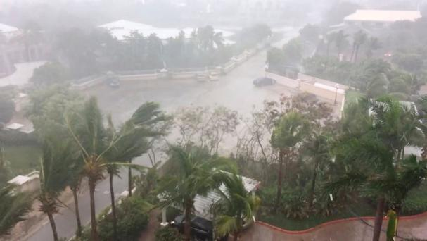 A storm batters as Hurricane Irma descends on Providenciales, in the Turks and Caicos Islands, in this still image taken from September 7, 2017 social media video. Photo: Aneesa Khan/via Reuters