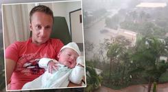Irishman describes family's relief as Baby Maebh arrives just hours before hurricane