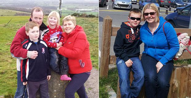 Evelyn with her young family son Cian (12), Zoe (6) and husband Clive (left); Evelyn with her son Cian (right)