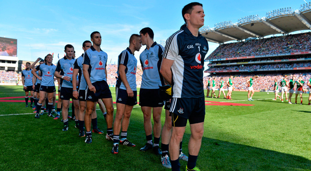 Dublin captain Stephen Cluxton and his team-mates line up for the pre-match parade last year