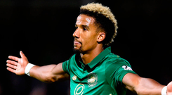 Celtic's Scott Sinclair celebrates scoring his side's second goal of the game during the Ladbrokes Scottish Premiership match at the SuperSeal Stadium, Hamilton. Photo: PA Wire