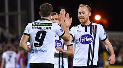 8 September 2017; David McMillan, 9, is congratulated by his Dundalk team-mate Chris Shields after scoring his side's fourth goal during the Irish Daily Mail FAI Cup Quarter-Final match between Dundalk and Drogheda United at Oriel Park in Dundalk, Co Louth. Photo by Stephen McCarthy/Sportsfile