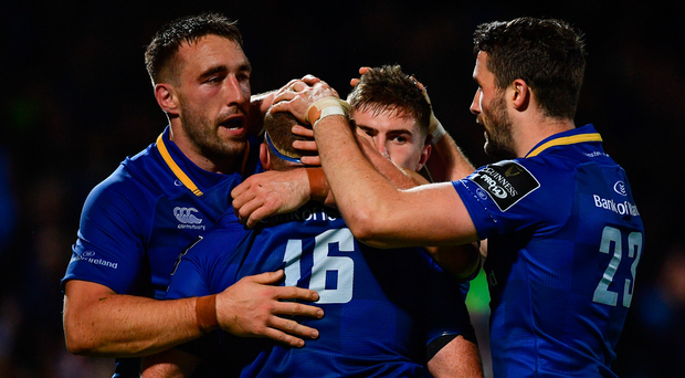 8 September 2017; Leinster's Sean Cronin, 16, is congratulated by teammates, from left, Jack Conan, Luke McGrath and Barry Daly, after scoring his side's second try during the Guinness PRO14 Round 2 match between Leinster and Cardiff Blues at the RDS Arena in Dublin. Photo by Ramsey Cardy/Sportsfile