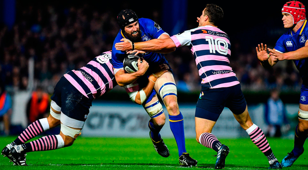 Leinster's Scott Fardy is tackled by Cardiff duo Josh Turnbull (L) and Steve Shingler. Photo: Sportsfile