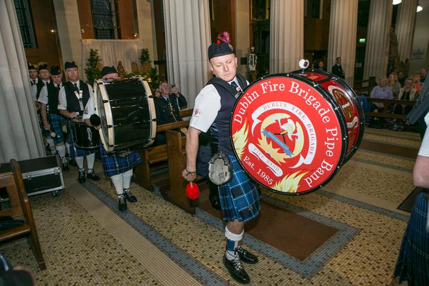 Members of the Dublin Fire Brigade and Ambulance Services Band at a concert in the Pro Cathedral to celebrate Frontline Services.