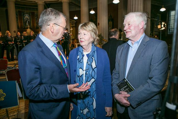 Joe Duffy speaks with John and Mary Fitzpatrick parents of Dara Fitzpatrick the Captain of Rescue 116 at a concert in the Pro Cathedral to celebrate Frontline Services.