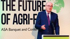 European Agriculture Commissioner Phil Hogan delivers the opening address at the annual conference of the Agricultural Science Association in Naas. Photo: Finbarr O'Rourke