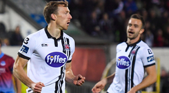 David McMillan of Dundalk after scoring his side's fourth goal, from a penalty, during the Irish Daily Mail FAI Cup Quarter-Final match between Dundalk and Drogheda United at Oriel Park in Dundalk, Co Louth. Photo: Sportsfile