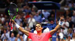 NEW YORK, NY - SEPTEMBER 06: Rafael Nadal of Spain celebrates defeating Andrey Rublev of Russia after their Men's Singles Quarterfinal match on Day Ten of the 2017 US Open at the USTA Billie Jean King National Tennis Center on September 6, 2017 in the Flushing neighborhood of the Queens borough of New York City. (Photo by Clive Brunskill/Getty Images)
