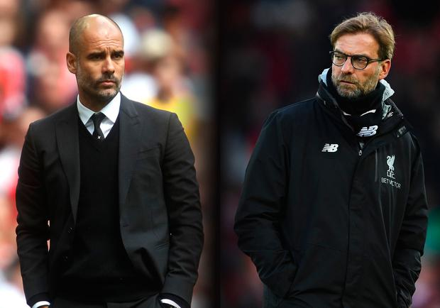 Pep Guardiola manager of Manchester City and Jurgen Klopp, Manager of Liverpool. (Photo by Julian Finney/Getty Images) (Photo by Laurence Griffiths/Getty Images)
