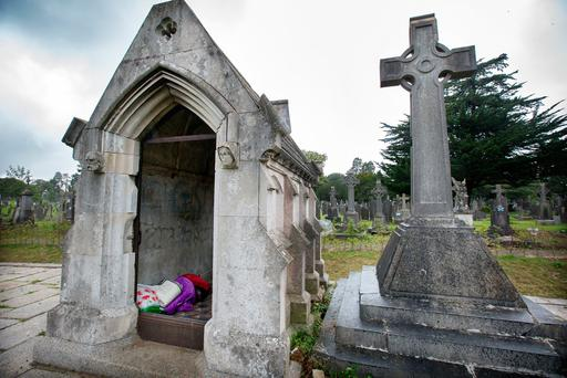 The Mausoleum where homeless people have been sleeping rough at Glasnevin cemetery. Photo: Tony Gavin 7/9/2017
