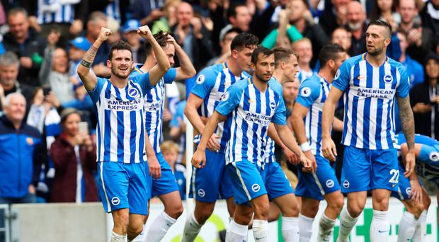 BRIGHTON, ENGLAND - SEPTEMBER 09: Pascal Grob of Brighton and Hove Albion celebrates scoring his sides first goal during the Premier League match between Brighton and Hove Albion and West Bromwich Albion at Amex Stadium on September 9, 2017 in Brighton, England. (Photo by Dan Istitene/Getty Images)