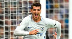 LEICESTER, ENGLAND - SEPTEMBER 09: Alvaro Morata of Chelsea celebrates scoring his sides first goal during the Premier League match between Leicester City and Chelsea at The King Power Stadium on September 9, 2017 in Leicester, England. (Photo by Michael Regan/Getty Images)