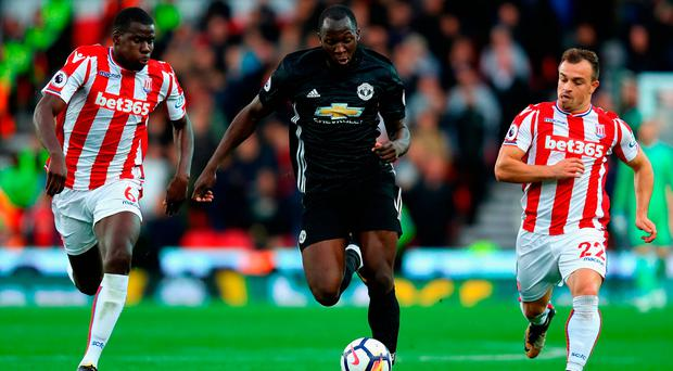 Stoke City's chases Romelu Lukaku during last night's Premier League at Bet365 Stadium. Photo: Getty Images
