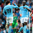Manchester City's Leroy Sane and Benjamin Mendy celebrate after beating Liverpool 5-0 earlier this season