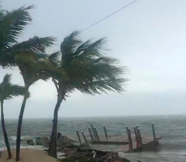 Strong winds and choppy sea are seen in Key Largo, Florida, U.S. as Hurricane Irma approaches, in this September 9, 2017 still image taken from social media video.
