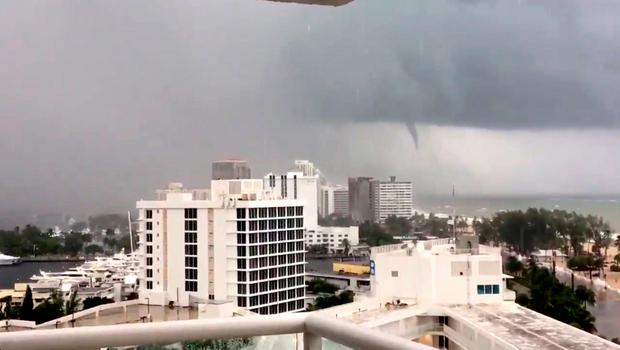 A tornado is seen from Fort Lauderdale beach, Florida, U.S., September 9, 2017, in this still image taken from a video obtained from social media.