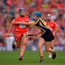 11 September 2016; Eimear O'Sullivan of Cork in action against Claire Phelan of Kilkenny during the Liberty Insurance All-Ireland Senior Camogie Championship Final match between Cork and Kilkenny at Croke Park in Dublin. Photo by Piaras Ó Mídheach/Sportsfile