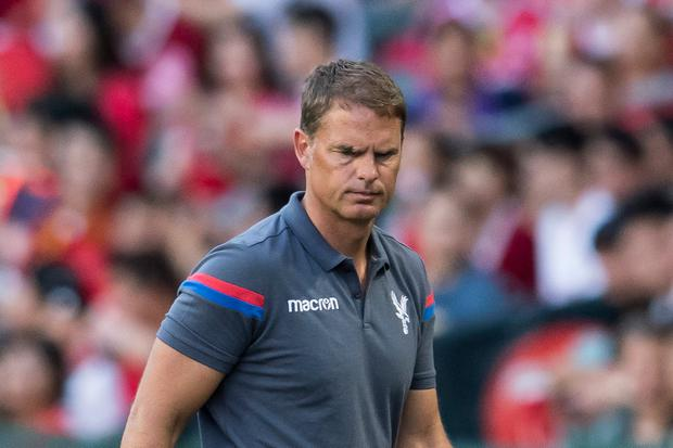 HONG KONG, HONG KONG - JULY 22: Crystal Palace manager Frank de Boer reacts during the Premier League Asia Trophy match between West Brom and Crystal Palace at Hong Kong Stadium on July 22, 2017 in Hong Kong, Hong Kong. (Photo by Victor Fraile/Getty Images)