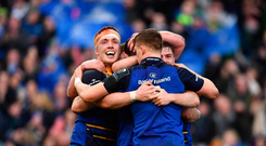 1 April 2017; Robbie Henshaw of Leinster is congratulated by teammates, including Dan Leavy, left, during the European Rugby Champions Cup Quarter-Final match between Leinster and Wasps at Aviva Stadium in Dublin. Photo by Ramsey Cardy/Sportsfile
