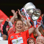 Cork captain Rena Buckley lifts The O'Duffy Cup after the Liberty Insurance All-Ireland Senior Camogie Final match between Cork and Kilkenny at Croke Park in Dublin. Photo by Piaras Ó Mídheach/Sportsfile