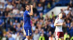 Alvaro Morata of Chelsea celebrates scoring his sides first goal during the Premier League match between Chelsea and Burnley at Stamford Bridge on August 12, 2017 in London, England. (Photo by Dan Mullan/Getty Images)