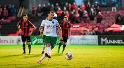 Karl Sheppard of Cork City shoots to score his side's third goal, from a penalty. Photo by Stephen McCarthy/Sportsfile