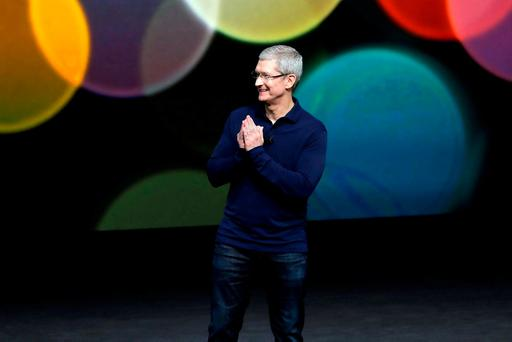 Apple CEO Tim Cook at an event to announce new products last year in San Francisco. Photo: AP