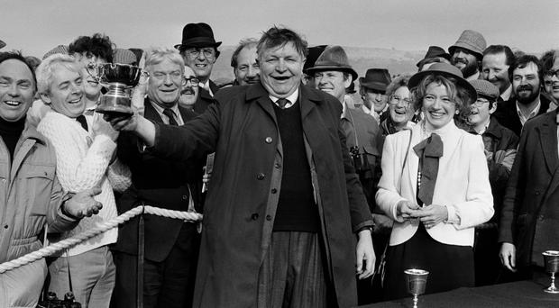 Listowel native Jim Kennelly celebrates the 1983 Cheltenham Gold Cup victory of Bregawn. Photo by Gerry Armes/Birmingham Mail/Popperfoto/Getty Images