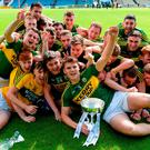 Kerry captain Darragh Shanahan and his team-mates celebrate after the Bord Gáis Energy All-Ireland U-21 hurling 'B' final in Thurles on Saturday. Photo by Piaras Ó Mídheach/Sportsfile