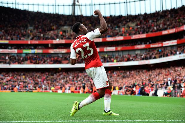 Arsenal's Danny Welbeck celebrates scoring their third goal at home to Bournemouth. Photo: REUTERS