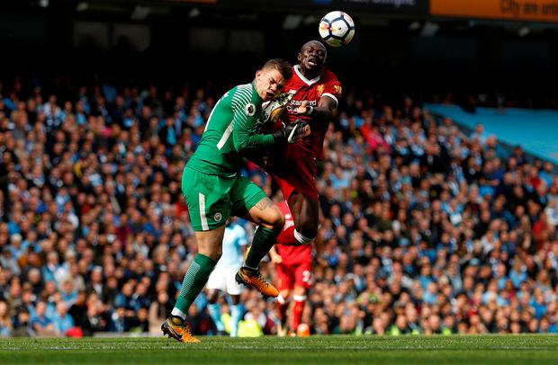 Sadio Mane's sending off for this tackle on Manchester City goalkeeper Ederson was pivotal in Liverpool's 5-0 demolition at the hands of City at the Etihad on Saturday. Photo: REUTERS