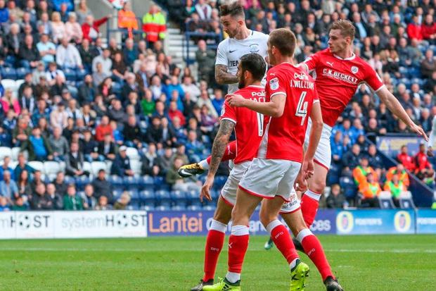 Seán Maguire scores his first competitive goal for Preston in Saturday's Championship draw with Barnsley