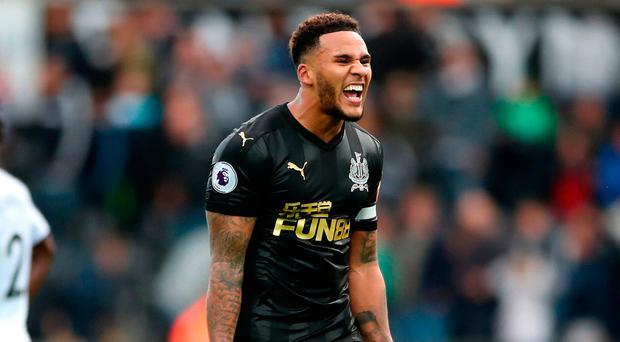 Newcastle United's Jamaal Lascelles celebrates after the final whistle. Photo credit: Nick Potts/PA Wire