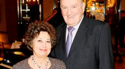George Hook, pictured here with wife Ingrid, apologised for the comments. Photo: Kieran Harnett
