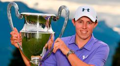 Matthew Fitzpatrick celebrates his Omega European Masters triumph. Photo by Stuart Franklin/Getty Images