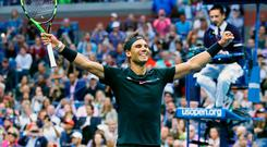 Rafael Nadal celebrates defeating South Africa's Kevin Anderson in last night's US Open final. Photo by Clive Brunskill/Getty Images