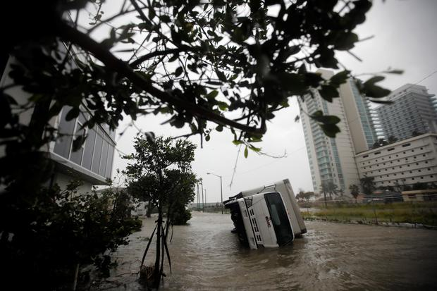 A truck is seen turned over as Hurricane Irma passes south Florida, in Miami, U.S. September 10, 2017. REUTERS/Carlos Barria